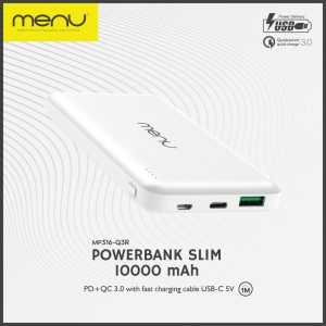 Menu Powerbank 10000Mah USB-C Slim MP316 White