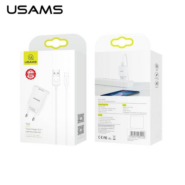 Usams Travel Charger Lighting Cable US-T21